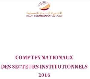 Comptes nationaux des secteurs institutionnels de l'année 2016