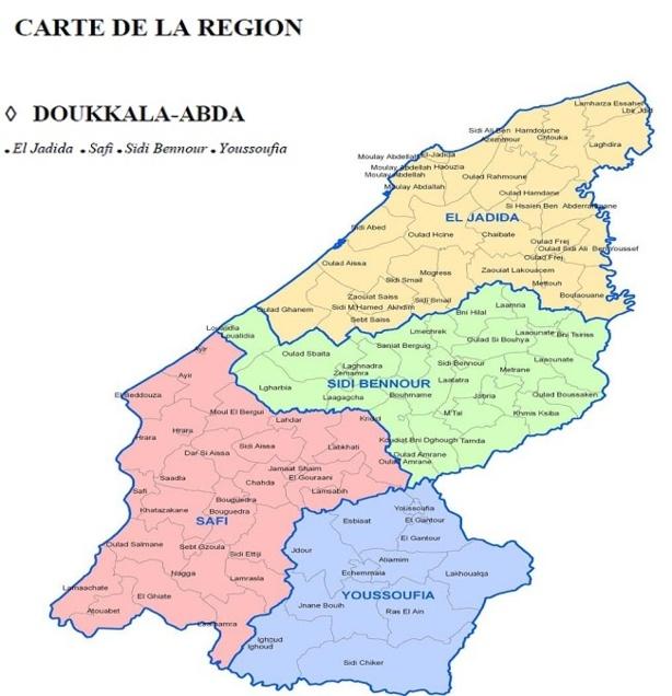 Carte administrative de la région Doukala-Abda