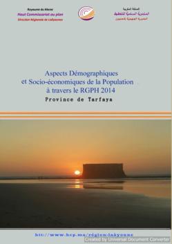 Aspects Démographiques et Socio-économiques de la Population à travers le RGPH 2014 Province de Tarfaya.