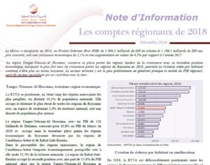 Note d'information sur les comptes régionaux 2018